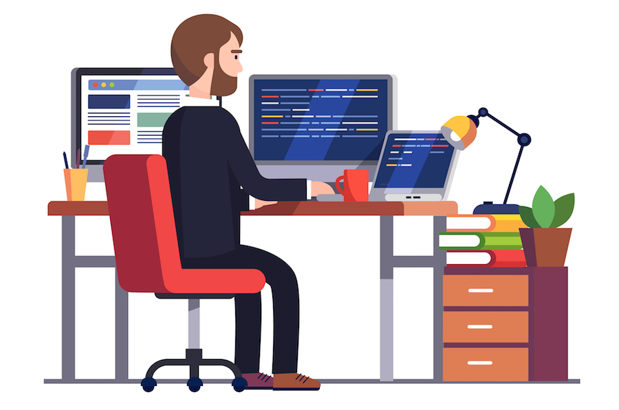 Freelancer working at his desk